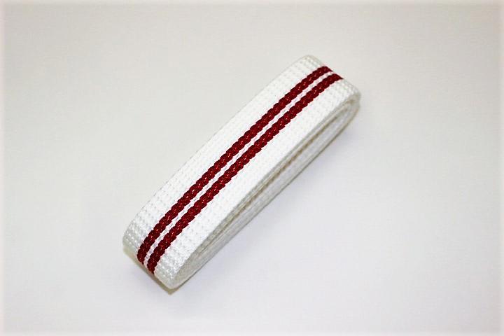 カラーテープ30mm(白×赤ライン)