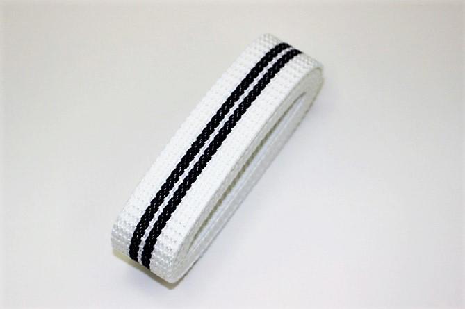 カラーテープ30mm(白×黒ライン)