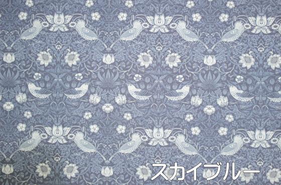 MODA MORRIS「いちご泥棒」シーチング  スカイブルー 110cm幅 【10㎝単位での販売】